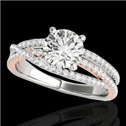 1.4 CTW H-SI/I Certified Diamond Solitaire Ring Two Tone 10K White & Rose Gold - REF-170R9K - 35543