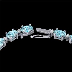 34 CTW Sky Blue Topaz & VS/SI Diamond Certified Tennis Necklace 10K White Gold - REF-149M8F - 21587