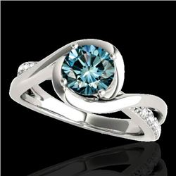 1.15 CTW SI Certified Fancy Blue Diamond Solitaire Ring 10K White Gold - REF-150R9K - 34840