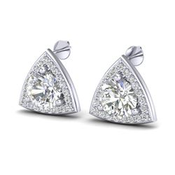 3 CTW VS/SI Diamond Certified Stud Earrings 18K White Gold - REF-824F3M - 20188