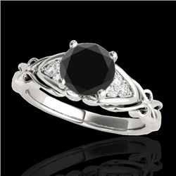 1.35 CTW Certified Vs Black Diamond Solitaire Ring Two Tone 10K White Gold - REF-54X9T - 35210