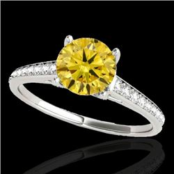 1.5 CTW Certified Si Fancy Intense Yellow Diamond Solitaire Ring 10K White Gold - REF-214T2X - 34851