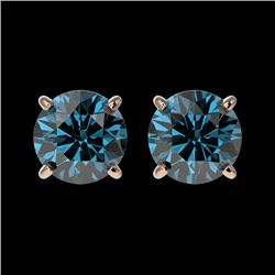 1.55 CTW Certified Intense Blue SI Diamond Solitaire Stud Earrings 10K Rose Gold - REF-154F5M - 3661