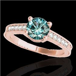 1.45 CTW SI Certified Blue Diamond Solitaire Antique Ring 10K Rose Gold - REF-200T2X - 34762