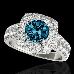 2.25 CTW SI Certified Fancy Blue Diamond Solitaire Halo Ring 10K White Gold - REF-229W3H - 33639