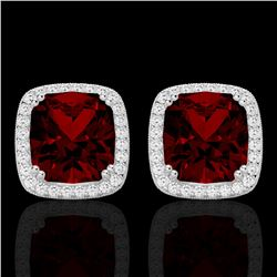 6 CTW Garnet & Micro Pave VS/SI Diamond Halo Solitaire Earrings 18K White Gold - REF-76M4F - 22803
