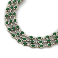 85.81 CTW Royalty Emerald & VS Diamond Necklace 18K Yellow Gold - REF-1618F2M - 38942