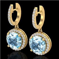 5.50 CTW Sky Blue Topaz & Micro Pave VS/SI Diamond Designer Halo 18K Yellow Gold - REF-87H8W - 23188