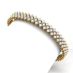 10 CTW Certified SI/I Diamond Bracelet 18K Yellow Gold - REF-463M6F - 40045