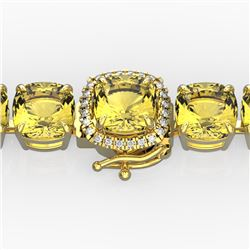 35 CTW Citrine & Micro Pave VS/SI Diamond Halo Bracelet 14K Yellow Gold - REF-134R2K - 23304