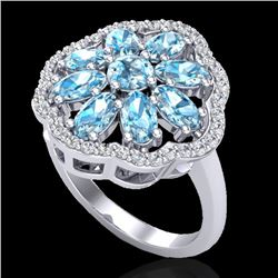 3 CTW Sky Blue Topaz & VS/SI Diamond Certified Cluster Halo Ring 10K White Gold - REF-52X2T - 20774