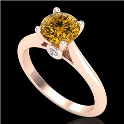 1.36 CTW Intense Fancy Yellow Diamond Engagement Art Deco Ring 18K Rose Gold - REF-227K3R - 38212