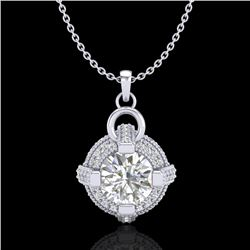 1.57 CTW VS/SI Diamond Micro Pave Stud Necklace 18K White Gold - REF-229W3H - 36953