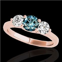 2 CTW SI Certified Fancy Blue Diamond 3 Stone Solitaire Ring 10K Rose Gold - REF-281W8H - 35391