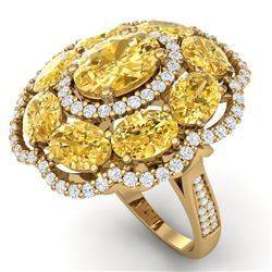 13.71 CTW Royalty Canary Citrine & VS Diamond Ring 18K Yellow Gold - REF-218Y2N - 39200