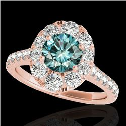 2 CTW SI Certified Blue Diamond Solitaire Halo Ring 10K Rose Gold - REF-210H9W - 34084