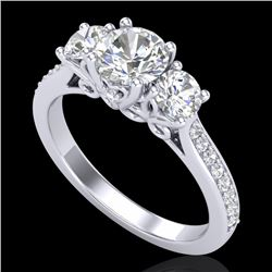 1.67 CTW VS/SI Diamond Solitaire Art Deco 3 Stone Ring 18K White Gold - REF-281N8Y - 37028