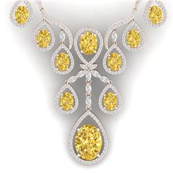 36.51 CTW Royalty Canary Citrine & VS Diamond Necklace 18K Rose Gold - REF-800H2W - 38569