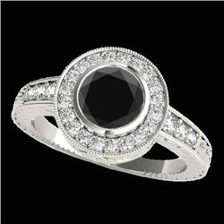 2 CTW Certified Vs Black Diamond Solitaire Halo Ring 10K White Gold - REF-86F2M - 33903