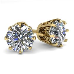 2.50 CTW VS/SI Diamond Stud Solitaire Earrings 18K Yellow Gold - REF-745M5F - 35695