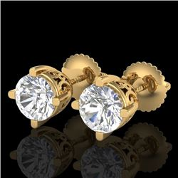 1.5 CTW VS/SI Diamond Solitaire Art Deco Stud Earrings 18K Yellow Gold - REF-318N2Y - 37231