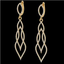 1.90 CTW Micro Pave VS/SI Diamond Certified Earrings 14K Yellow Gold - REF-143M5F - 20095