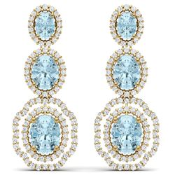 17.96 CTW Royalty Sky Topaz & VS Diamond Earrings 18K Yellow Gold - REF-290H9W - 39215