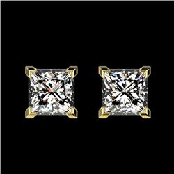 1 CTW Certified VS/SI Quality Princess Diamond Stud Earrings 10K Yellow Gold - REF-143N6Y - 33065