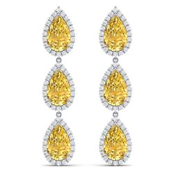 24.23 CTW Royalty Canary Citrine & VS Diamond Earrings 18K White Gold - REF-290X9T - 38853