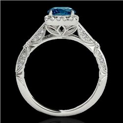 1.36 CTW SI Certified Fancy Blue Diamond Solitaire Halo Ring 10K White Gold - REF-161N8Y - 33756