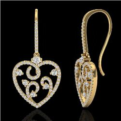2.50 CTW VS/SI Diamond Certified Micro Pave Designer Earrings 14K Yellow Gold - REF-179F3M - 20098