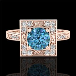1.1 CTW Intense Blue Diamond Solitaire Engagement Art Deco Ring 18K Rose Gold - REF-140T9X - 38154