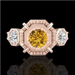 1.01 CTW Intense Fancy Yellow Diamond Art Deco 3 Stone Ring 18K Rose Gold - REF-165M5F - 37470