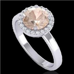 1.50 CTW Morganite & Halo VS/SI Diamond Micro Ring Solitaire 18K White Gold - REF-60M5F - 21634