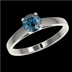 0.76 CTW Certified Intense Blue SI Diamond Solitaire Engagement Ring 10K White Gold - REF-84M8F - 36
