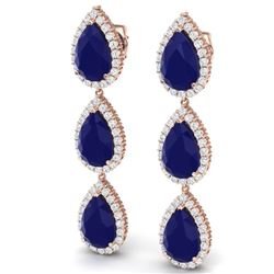 27.06 CTW Royalty Sapphire & VS Diamond Earrings 18K Rose Gold - REF-345Y5N - 38848