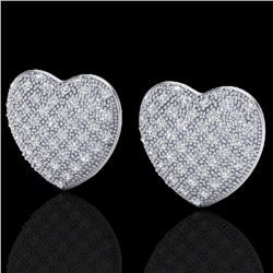 1.50 Designer CTW Micro Pave VS/SI Diamond Heart Earrings 14K White Gold - REF-110F4M - 20177