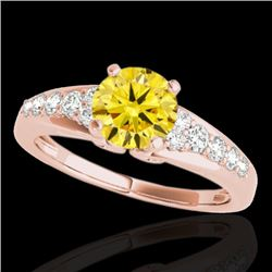 1.4 CTW Certified Si Fancy Intense Yellow Diamond Solitaire Ring 10K Rose Gold - REF-160H2W - 35004