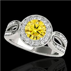 1.4 CTW Certified Si Fancy Intense Yellow Diamond Solitaire Halo Ring 10K White Gold - REF-180H2W -