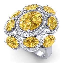 7.68 CTW Royalty Canary Citrine & VS Diamond Ring 18K White Gold - REF-178T2X - 39306
