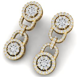 2.30 CTW Certified SI/I Diamond Halo Earrings 18K Yellow Gold - REF-135M2F - 40084