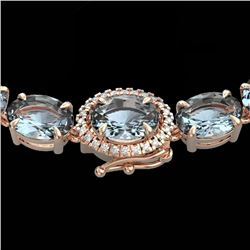 36.25 CTW Aquamarine & VS/SI Diamond Eternity Tennis Micro Halo Necklace 14K Rose Gold - REF-321Y8N
