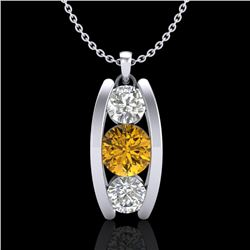 1.07 CTW Intense Fancy Yellow Diamond Art Deco Stud Necklace 18K White Gold - REF-136K4R - 37777