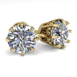 3 CTW VS/SI Diamond Stud Solitaire Earrings 18K Yellow Gold - REF-930X2T - 35698