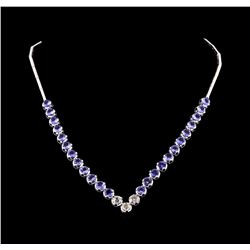 14KT White Gold 16.08 ctw Tanzanite and Diamond Necklace