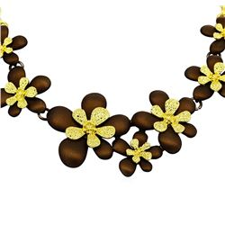 Flower Hand Painted Necklace - Gold Plated