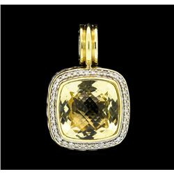 David Yurman Albion Citrine and Diamond Pave Pendant - Sterling Silver and 18KT