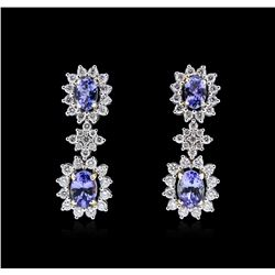 14KT Two-Tone Gold 1.76 ctw Tanzanite and Diamond Earrings