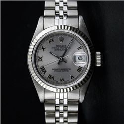 Ladies Rolex Stainless Steel Quickset Slate Grey Roman Datejust Wristwatch