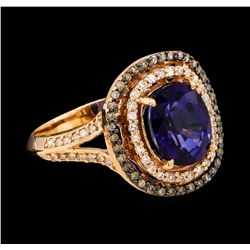 1.90 ctw Sapphire and Brown and White Diamond Ring - 14KT Rose Gold